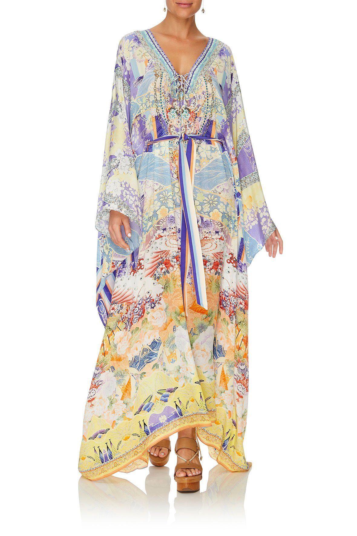 d9e05350c5 Camilla  Girl In The Kimono - Split Hem Lace Up Kaftan - Michelle Ann